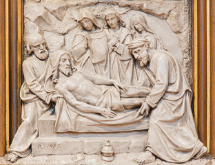 Vienna - The Burial of Jesus relief  in Sacre Coeur church