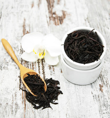 Black  tea with orchid flower
