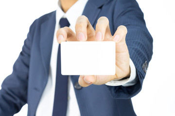 Businessman Hold Business Card or White Card Isolated on White B