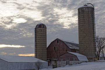 Barn and Outbuildings at Dusk