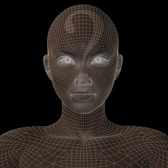 Conceptual witreframe or mesh woman face
