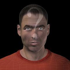 Conceptual witreframe or mesh man face