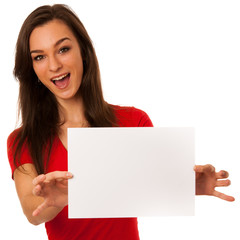Beautiful young business woman showing a blank card isolated ove