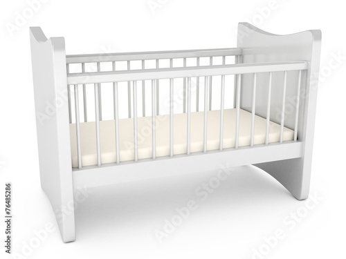 Baby cot over white background - 76485286