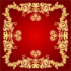 Heart frame red Greeting and ornaments vector