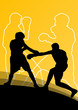 Boxing active young men box sport silhouettes abstract backgroun