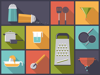Flat design illustration with cooking utensil icons