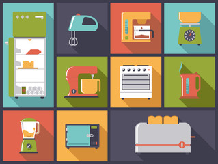 Flat design illustration with kitchen appliance icons