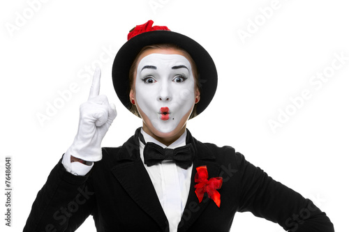 Portrait of the surprised and joyful mime with open mouth - 76486041