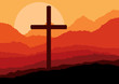 Cross and nature landscape vector concept background