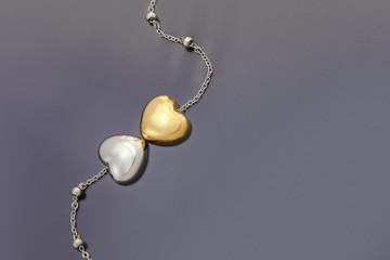 Gold and Silver Heart necklace