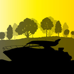 Yacht boat vector background landscape vector with sea coast and