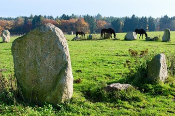 Stone and horses