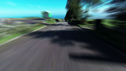 Fast Driving onto Curved Mountain Road on island Sao-Miguel