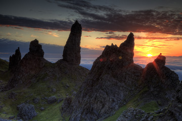Sunrise behind the Old Man of Storr in Scotland