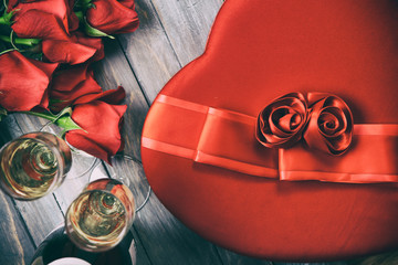 Valentine: Overhead View Of Gifts Of Roses, Candy And Champagne