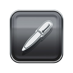Pen icon glossy grey, isolated on white background