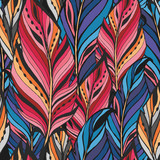Texture with feathers in pink and blue colors