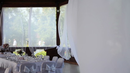 beautiful restaurant with white curtains