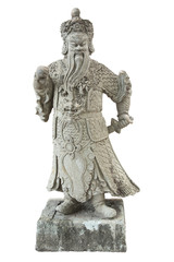 Stone Chinese warrior in the Temple