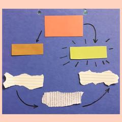 Схема или таблица из кусочков бумаги