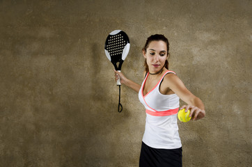 Paddle tennis woman player