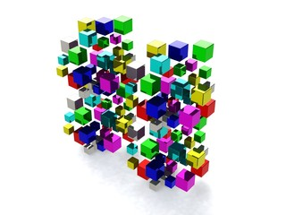 Abstract background with many colored cubes