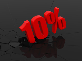 10 percent discount icon on black background