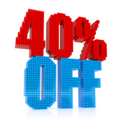 40 percent discount icon on white background