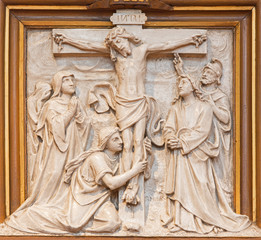 Vienna - Crucifixion relief as one part of Cross way cycle