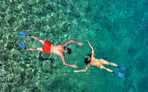 Couple snorkeling at Phi Phi Island, Phuket, Thailand - 76491018