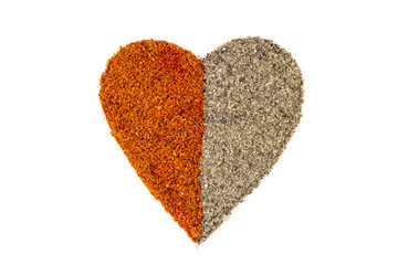 Red and black pepper heart shape