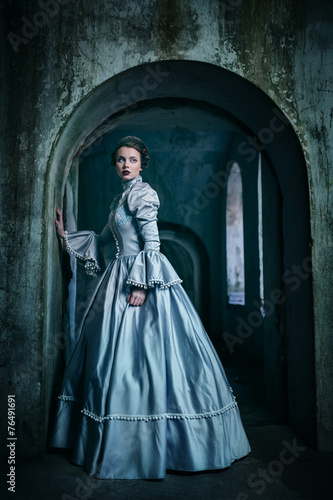 Woman in victorian dress Poster