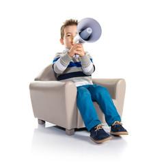 Kid shouting by megaphone