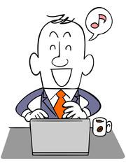 笑顔でノートパソコンを使うビジネスマン