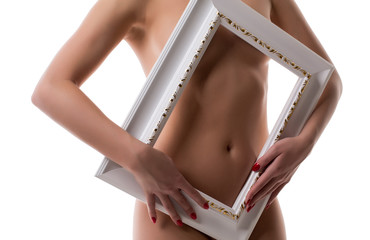 Framed body. Nude girl with perfect skin
