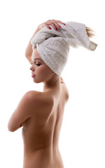 Concept of body care. Beautiful girl posing naked