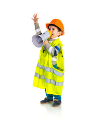 Kid dressed like workman shouting by megaphone