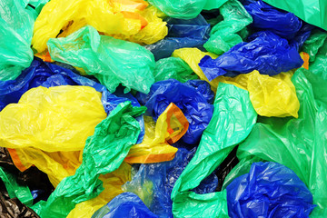 A lot of colorful disposable plastic bags