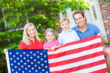 Summer: Family with American Flag