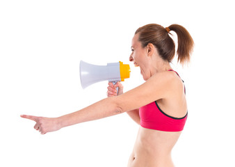 Sport woman shouting by megaphone