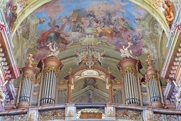 Slovakia - organ and fresco from cloister church in Jasov