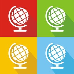 Iconos globo terráqueo colores sombra