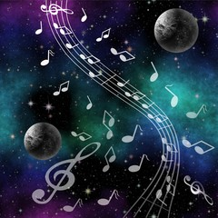 Fantasy image Music of space with planets and treble clef