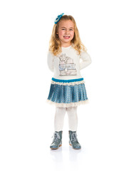 Little blonde girl over white background