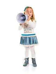 Little blonde girl shouting over white background