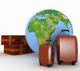 Suitcases for travel on background of globe