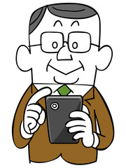 スマートフォンを操作する年輩のビジネスマン