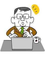 ノートパソコンを使う年輩のビジネスマン_気づき