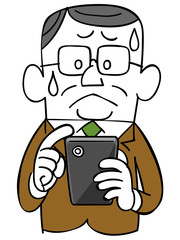 スマートフォンを操作するビジネスマン_焦り